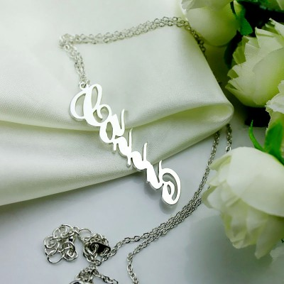 Vertical Carrie Style Name Necklace Silver - The Handmade ™