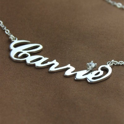 Silver Carrie Name Necklace With Birthstone - The Handmade ™