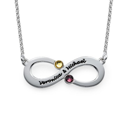 Couple's Infinity Necklace with Birthstones - The Handmade ™