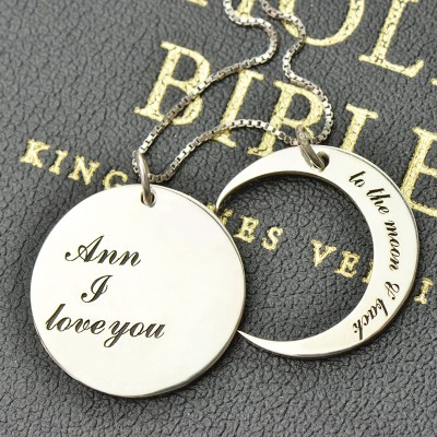 I Love You to the Moon and Back Love Necklace Silver - The Handmade ™