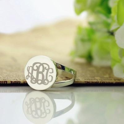Silver Circle Monogram Signet Ring - The Handmade ™