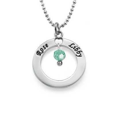 Engraved Classic Circle Necklace with Birthstones - The Handmade ™