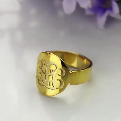 Engraved Gold Script Monogram Itnitial Ring - The Handmade ™