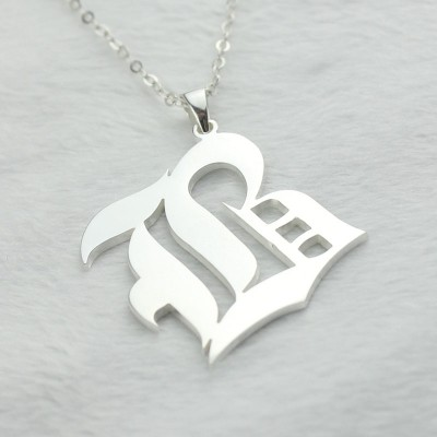 Custom Initial Letter Charm Old English Silver - The Handmade ™