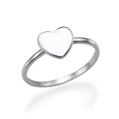 Heart Initial Ring in Silver - The Handmade ™