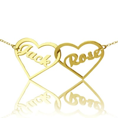 Double Heart Name Necklace Gold - The Handmade ™