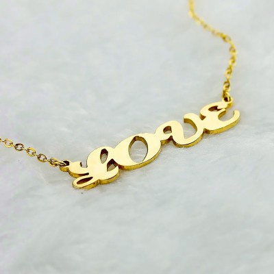 Gold Capital Puff Font Name Necklace - The Handmade ™