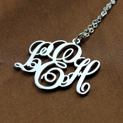 Vine Font Initial Monogram Necklace White Gold - The Handmade ™