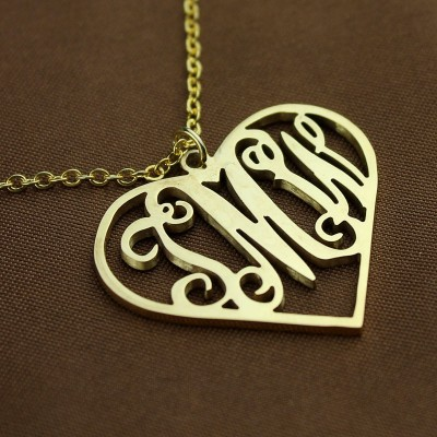 Gold Initial Monogram Heart Necklace - The Handmade ™