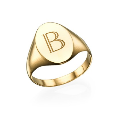 Initial Signet Ring - Gold - The Handmade ™