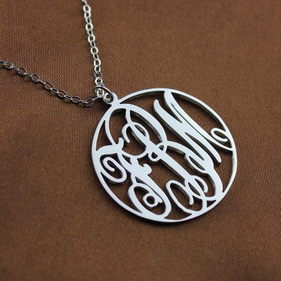 Necklace Fancy Circle Monogram Necklace Silver - The Handmade ™