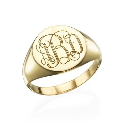 Signet Ring in Gold Plating with Engraved Monogram - The Handmade ™