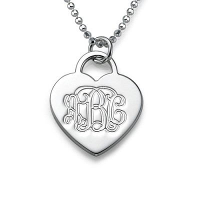 Silver Engraved Monogram Initials Heart Pendant - The Handmade ™