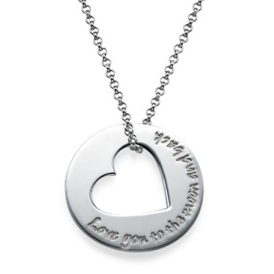 Silver Engraved Necklace with Heart Cut Out - The Handmade ™