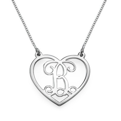 Silver Heart Initials Necklace - The Handmade ™
