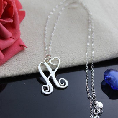 One Initial Monogram With Heart Necklace Silver - The Handmade ™