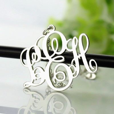 Vine Font Initial Monogram Necklace Silver - The Handmade ™
