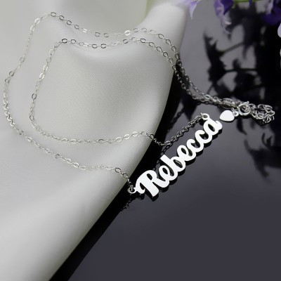 Silver Puff Font Namplate Necklace - The Handmade ™