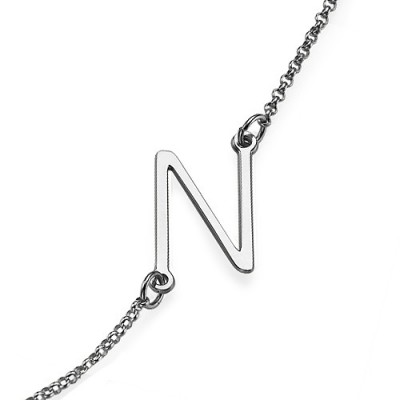 Silver Side Initial Necklace - The Handmade ™