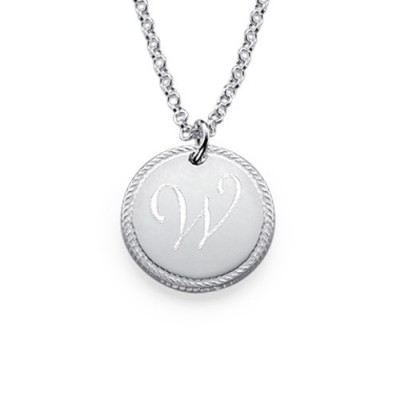 Silver Circle Initial Necklace - The Handmade ™