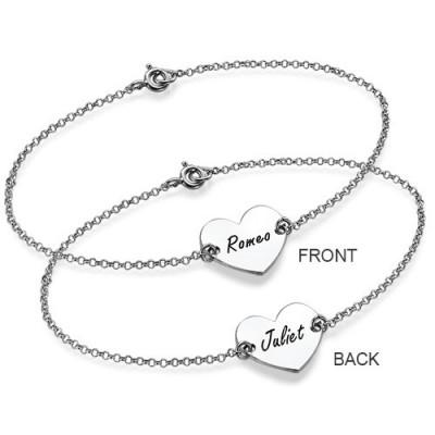 Silver Engraved Heart Couples Bracelet - The Handmade ™