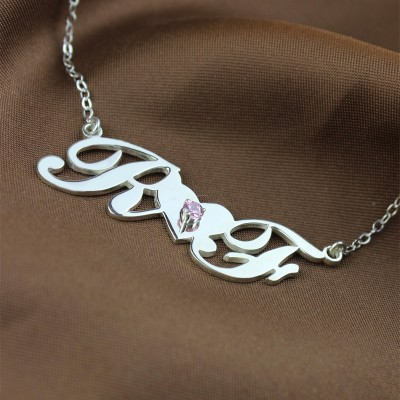 Silver Double initials Necklace - The Handmade ™