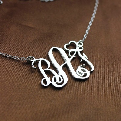 Initial Monogram Necklace With Heart Srerling Silver - The Handmade ™