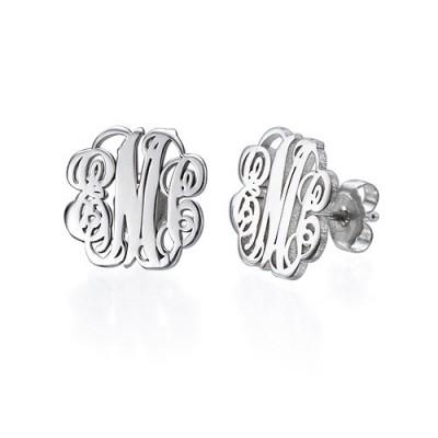 Silver Monogram Stud Earrings - The Handmade ™