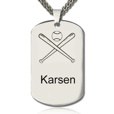 Baseball Dog Tag Name Necklace - The Handmade ™