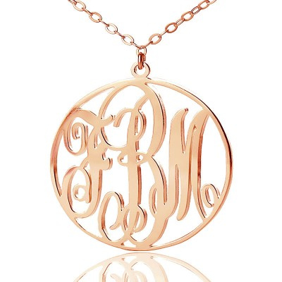Rose Gold Vine Font Circle Initial Monogram Necklace - The Handmade ™