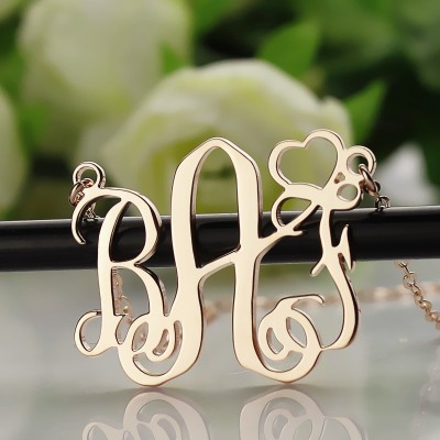 Initial Monogram Necklace Rose Gold With Heart - The Handmade ™