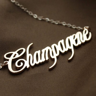 Rose Gold Champagne Font Name Necklace - The Handmade ™