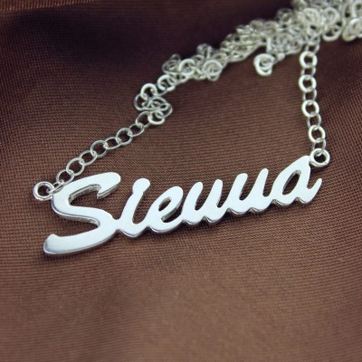 White Gold Sienna Style Name Necklace - The Handmade ™