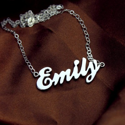 Cursive Script Name Necklace White Gold - The Handmade ™
