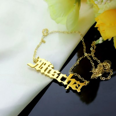 Mischa Barton Old English Font Name Necklace Gold - The Handmade ™