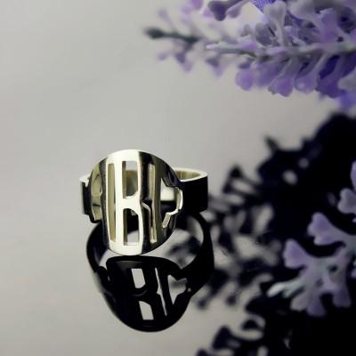 Circle Block Monogram 3 Initials Ring White Gold Ring - The Handmade ™