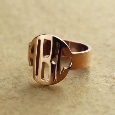 Personalised Circle Block Monogram 3 Initials Ring Rose Gold Ring - The Handmade ™