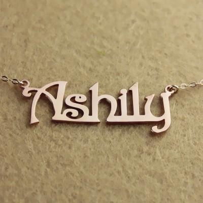 Rose Gold Harrington Font Name Necklace - The Handmade ™