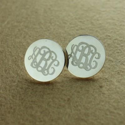 Engraved Monogram Stud Earrings Silver - The Handmade ™