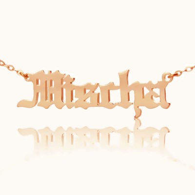 Mischa Barton Style Old English Font Name Necklace Rose Gold - The Handmade ™