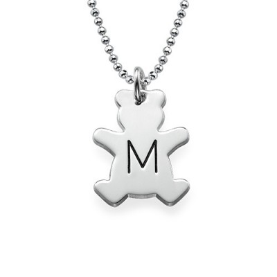 Teddy Bear Necklace with Initial in Silver - The Handmade ™