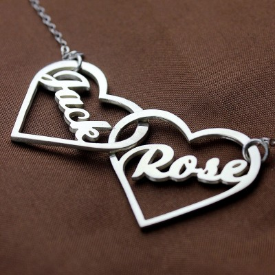Double Heart Love Necklace With Names Silver - The Handmade ™