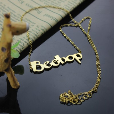 Gold Beetle font Letter Name Necklace - The Handmade ™