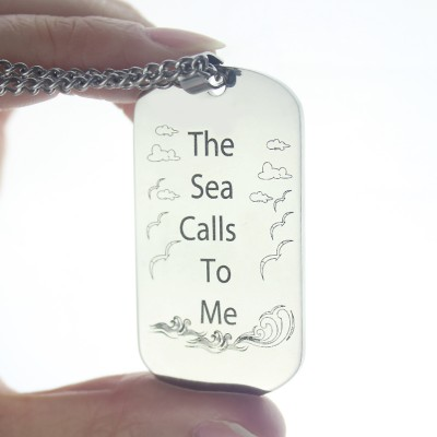 Man's Dog Tag Ocean Theme Name Necklace - The Handmade ™