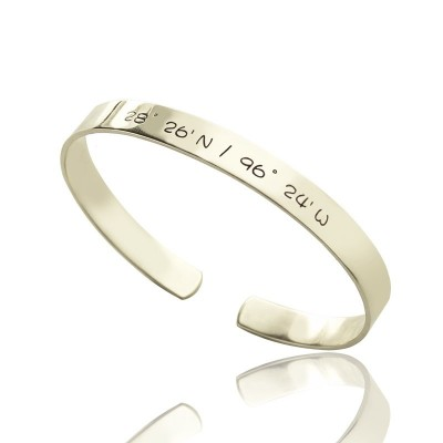 Latitude Longitude Coordinate Cuff Bangle Bracelet - The Handmade ™