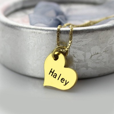 Matching Heart Couples Name Dog Tag Necklaces - The Handmade ™