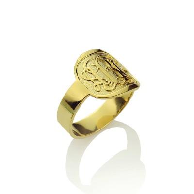 Engraved Designs Monogram Ring Gold - The Handmade ™