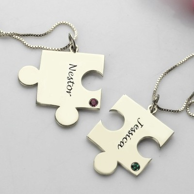 Engraved Puzzle Necklace for Couples Love Necklaces Silver - The Handmade ™