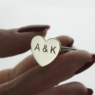 Engraved Sweetheart Ring with Double Initials Silver - The Handmade ™