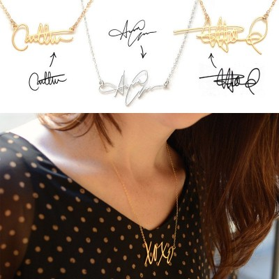 Necklace with Your Own Signature Silver - The Handmade ™